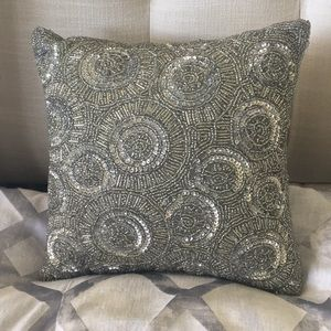 Mini Silver Beads & Sequins Accent Pillow